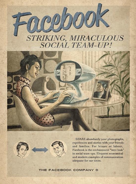 Reclame vintage (fake) pentru Facebook, YouTube, Skype și Twitter