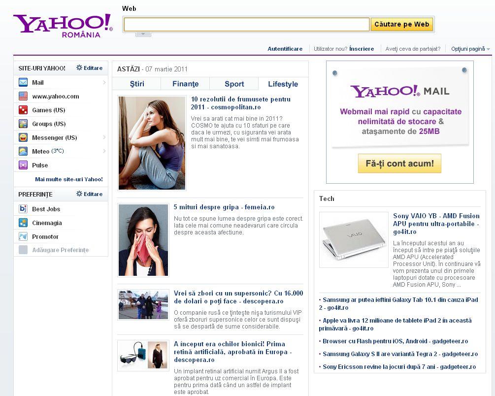 S-a lansat yahoo.ro