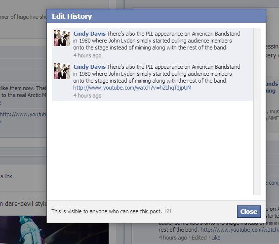 Editarile de comentarii si statusuri (la poze) sunt vizibile