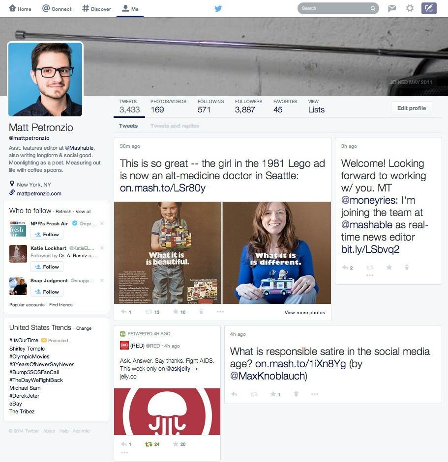 Twitter testeaza un nou design de profil