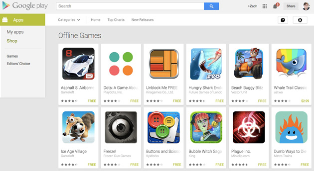 google play sectiune jocuri offline