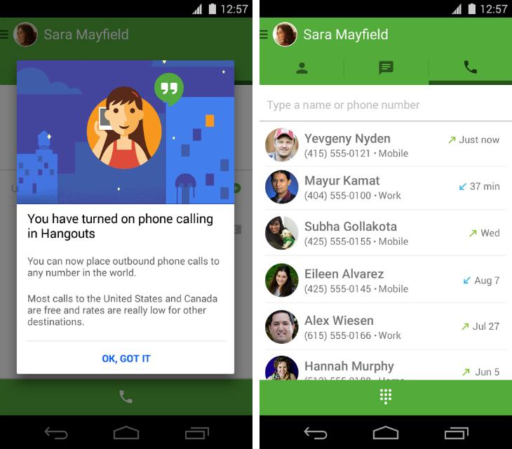 google hangouts apeluri vocale numere sua canada
