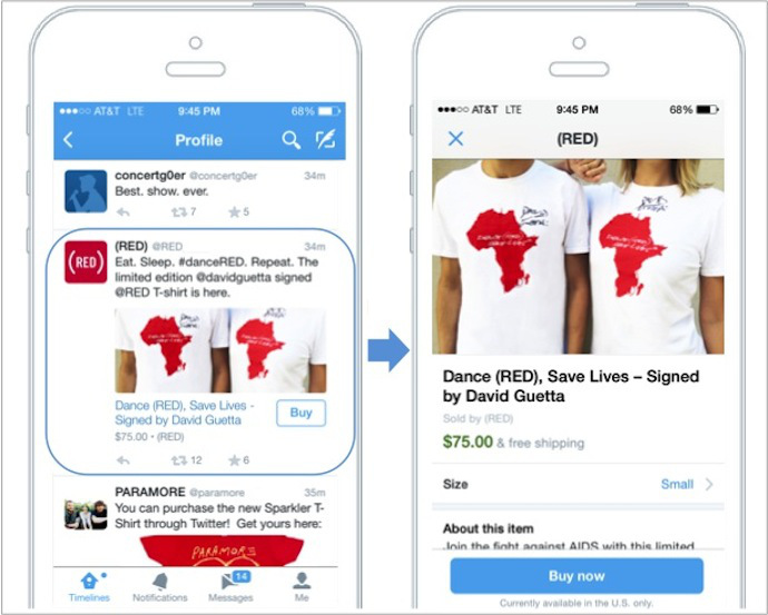 twitter buton buy pe mobil