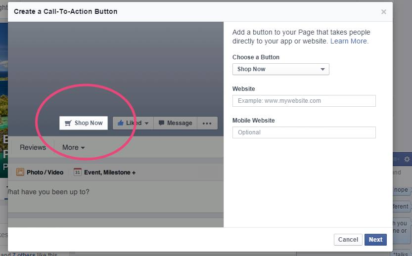 facebook pagina buton call-to-action