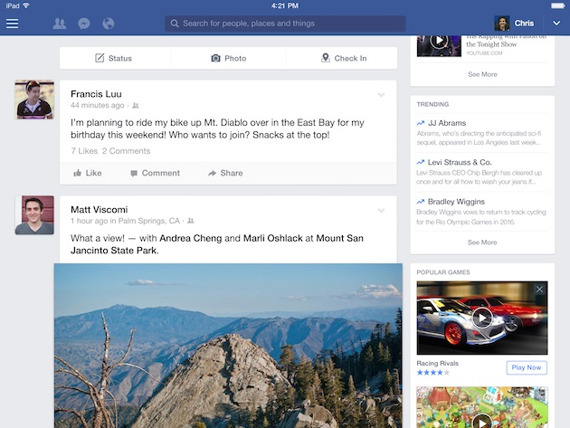 facebook design ipad