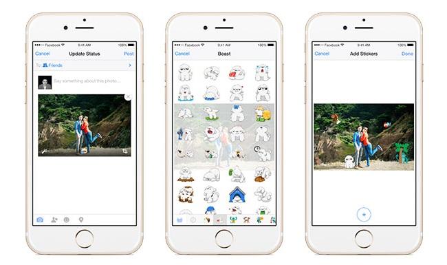 aplicatia facebook adaugare stickere pe poze