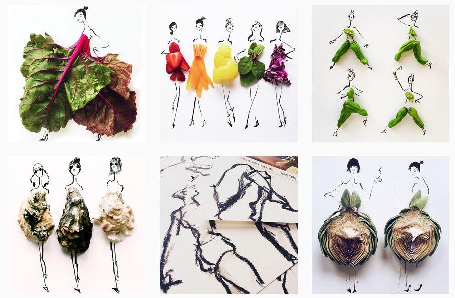 Schițe de modă cu fructe și legume