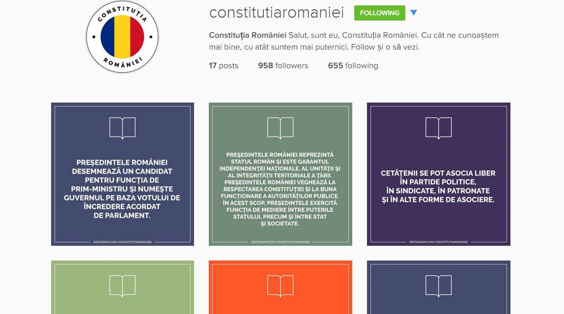 Constitutia Romaniei are cont pe Instagram