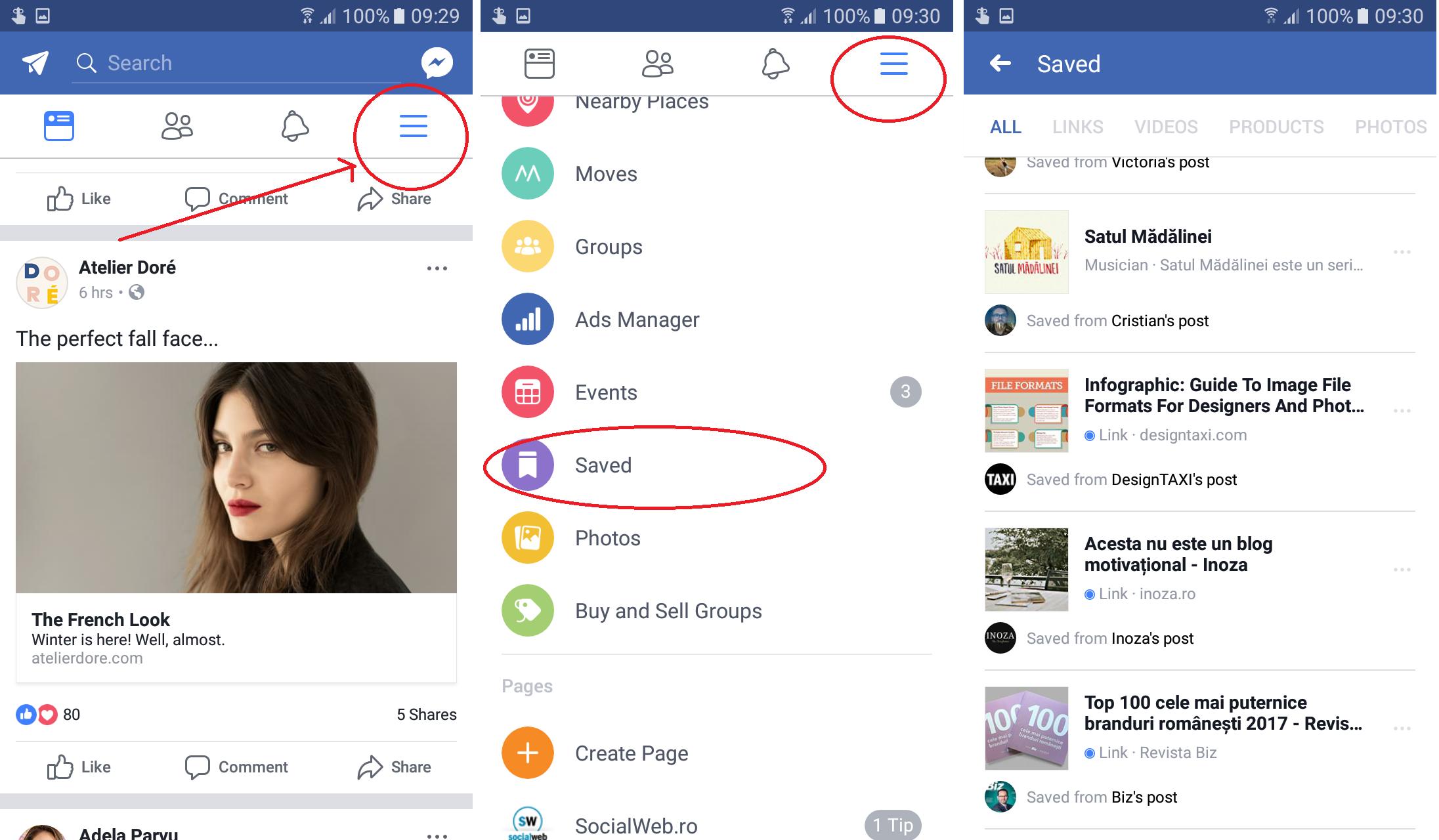 cum salvezi o postare pe facebook